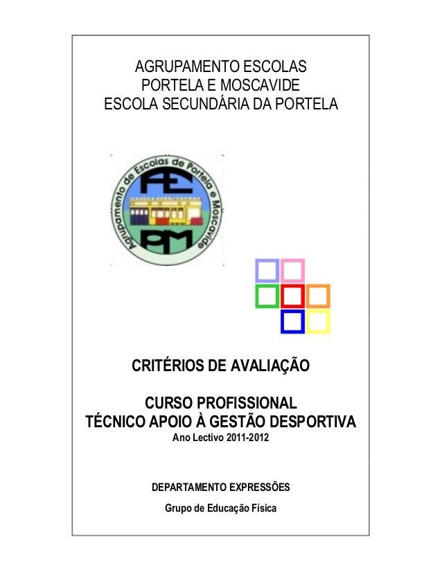 AGRUPAMENTO ESCOLAS PORTELA E MOSCAVIDE ESCOLA SECUNDÁRIA DA PORTELA CRITÉRIOS DE AVALIAÇÃO CURSO PROFISSIONAL TÉCNICO APO...