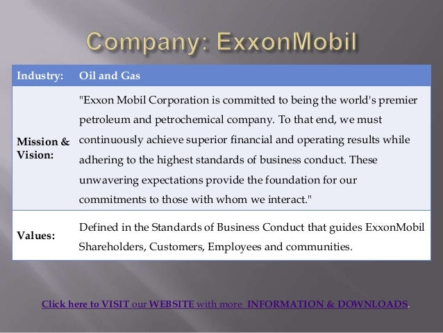 exxonmobil vision and mission statement