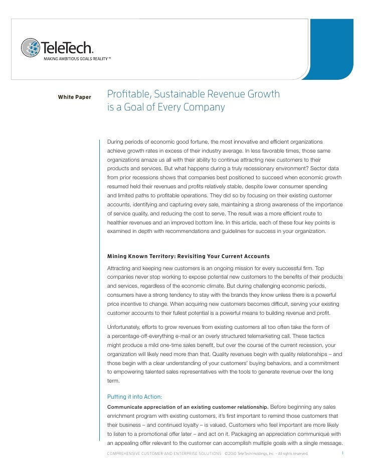 White Paper   profitable, sustainable revenue Growth              is a Goal of every Company              During periods o...
