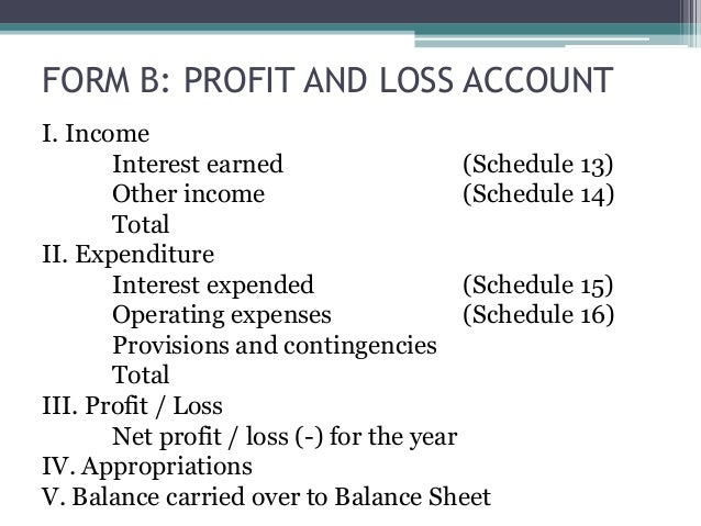profit and loss account of banking companies