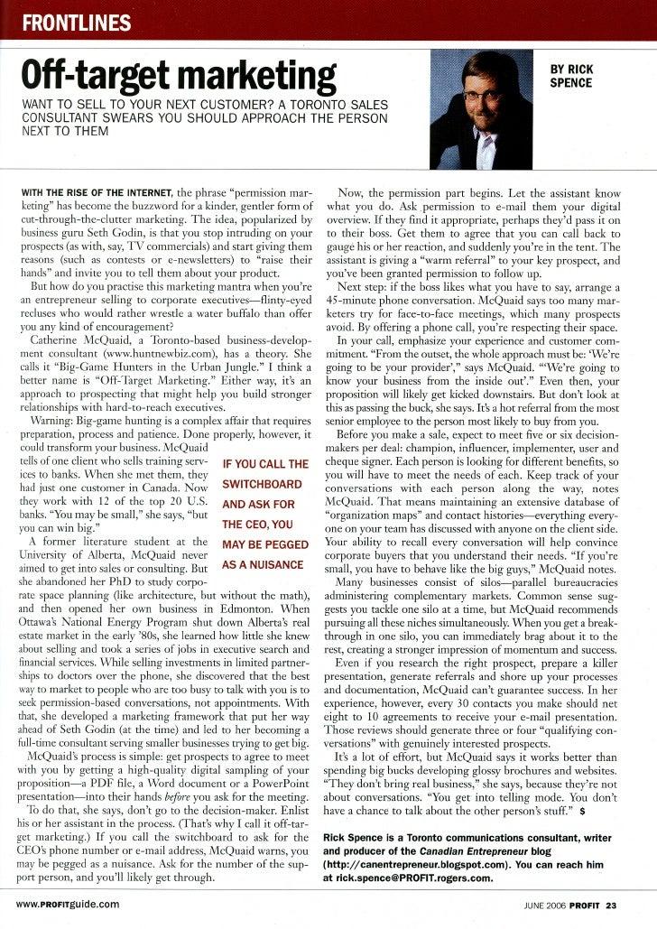 Big  Game  Hunting, Profit Magazine