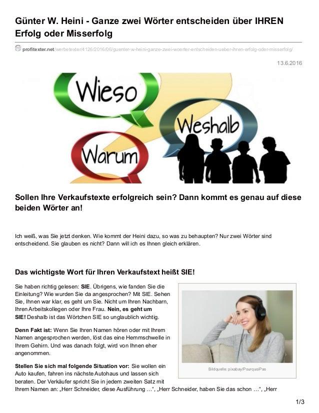 Bildquelle: pixabay/PourquoiPas 13.6.2016 Günter W. Heini - Ganze zwei Wörter entscheiden über IHREN Erfolg oder Misserfol...