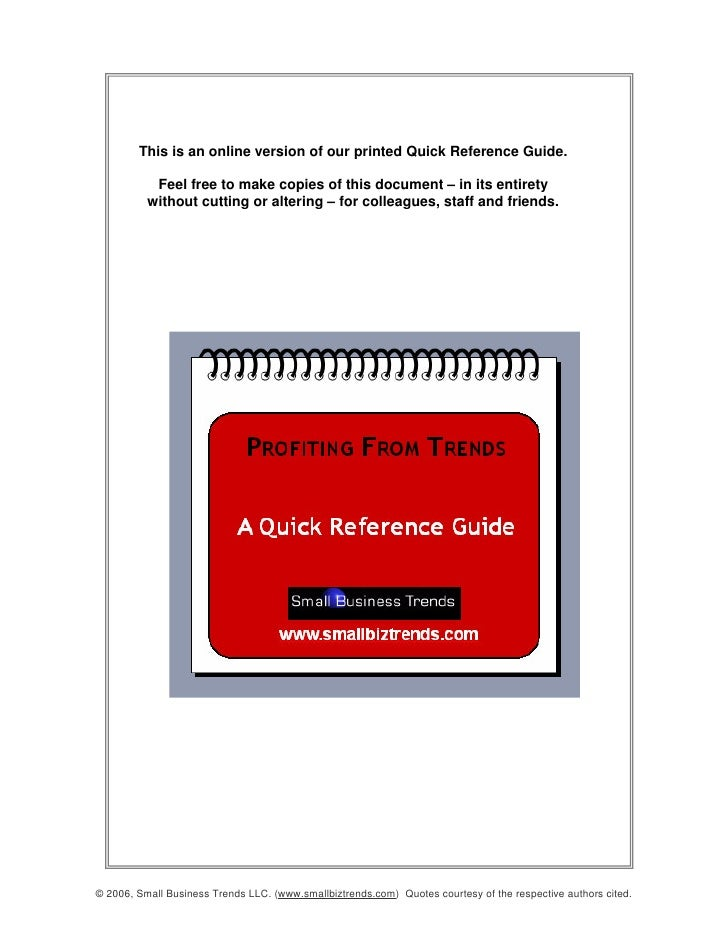 This is an online version of our printed Quick Reference Guide.             Feel free to make copies of this document – in...