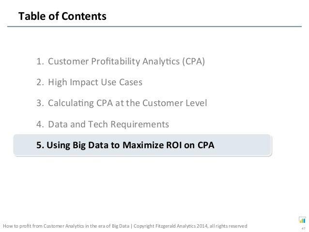 Profiting From Customer Profitability Big Data