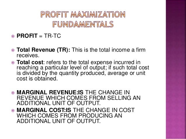 profit maximization 2 essay Profit maximization academic essay calculate marginal revenue and marginal cost and determine the profit maximizing output for a firm under the two scenarios.