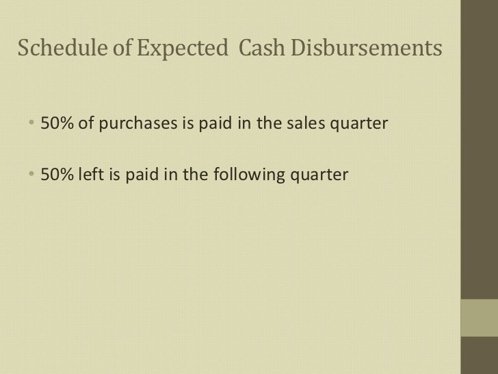 Schedule Of Expected Cash Disbursements