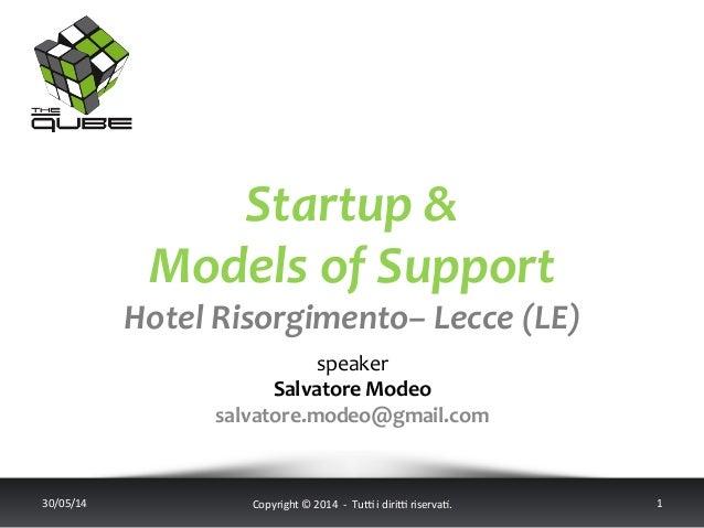 Startup  &     Models  of  Support   Hotel  Risorgimento–  Lecce  (LE)        speaker   Salvator...