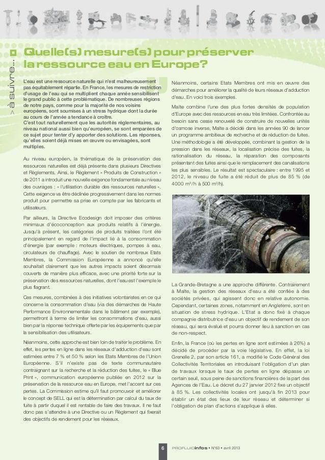 Quelle(s) mesure(s) pour préserverà suivre...              la ressource eau en Europe?              L'eau est une ressourc...