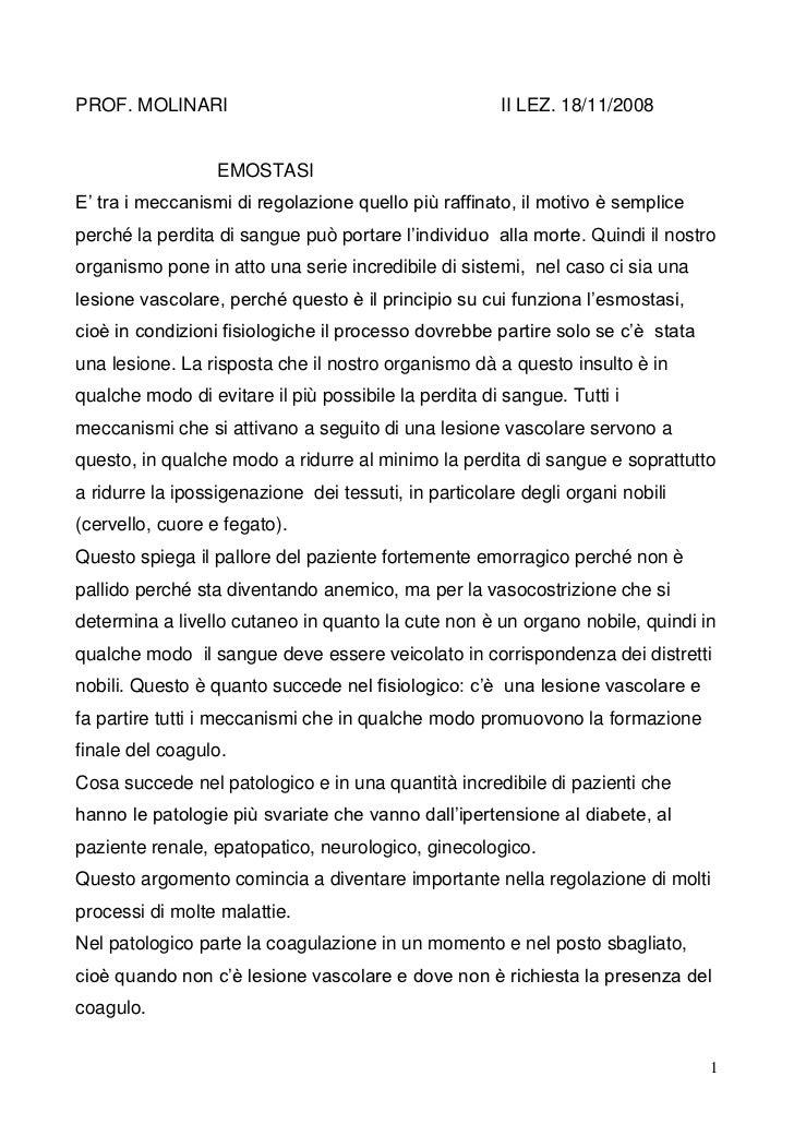 """PROF. MOLINARI                                        II LEZ. 18/11/2008                  EMOSTASIE"""" tra i meccanismi di r..."""