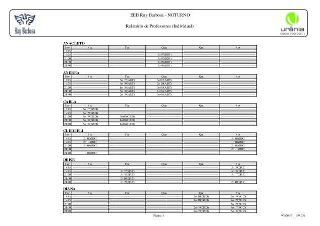 EEB Ruy Barbosa - NOTURNO Relatório de Professores (Individual) Página: 1 9/9/2007 (09:23) ANACLETO Hor Seg Ter Qua Qui Se...