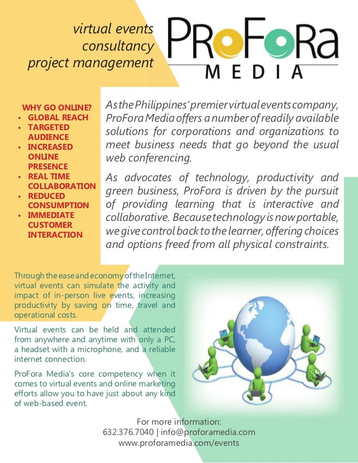 virtual events             consultancy   project management WHY GO ONLINE?          As the Philippines' premier virtual ev...
