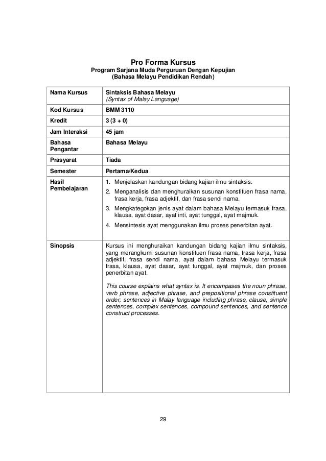 Pro Forma Kursus                Program Sarjana Muda Perguruan Dengan Kepujian                      (Bahasa Melayu Pendidi...