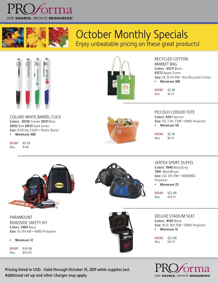 October Monthly Specials                                          Enjoy unbeatable pricing on these great products!       ...