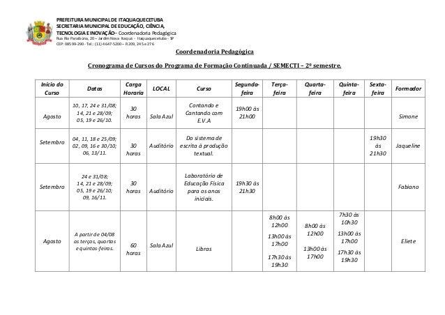 PREFEITURA MUNICIPAL DE ITAQUAQUECETUBA SECRETARIA MUNICIPAL DE EDUCAÇÃO, CIÊNCIA, TECNOLOGIA E INOVAÇÃO– Coordenadoria Pe...
