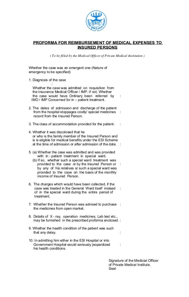 Proforma for reimbursement of medical expenses by esic