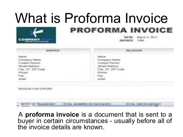 what is proforma invoice