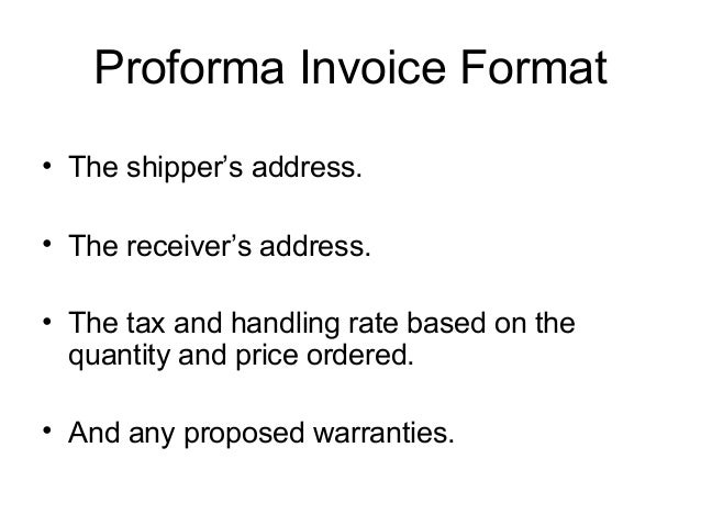 what is profoma invoice