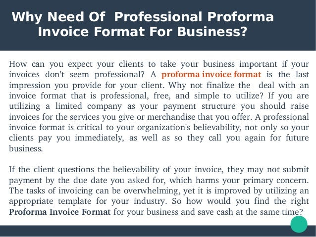 Proforma Invoice Format For Business