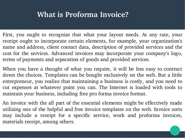 Proforma Invoice Format For Business - Format of proforma invoice for service business