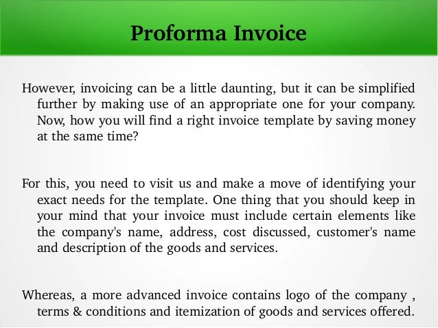 Proforma Invoice Template - What is a proforma invoice for service business