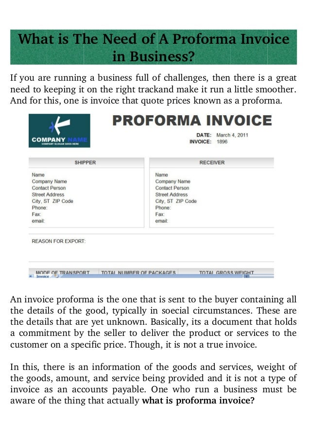 what is a profoma invoice