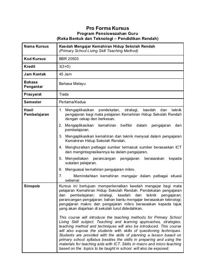 Pro Forma Kursus                        Program Pensiswazahan Guru               (Reka Bentuk dan Teknologi – Pendidikan R...