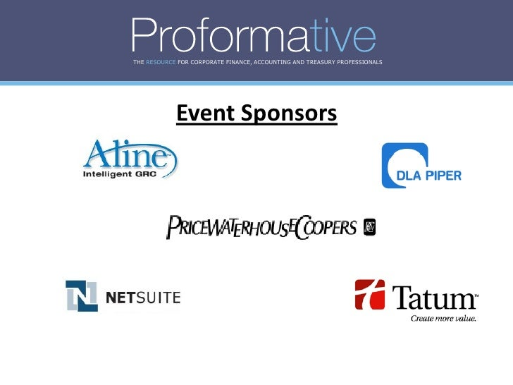 THE RESOURCE FOR CORPORATE FINANCE, ACCOUNTING AND TREASURY PROFESSIONALS                 Event Sponsors