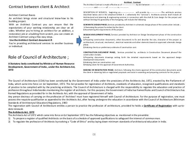 Architecture professional practice for Architect contract
