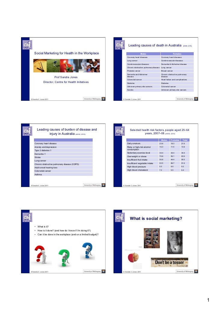 Leading causes of death in Australia                           (AIHW, 2010)    Social Marketing for Health in the Workplac...