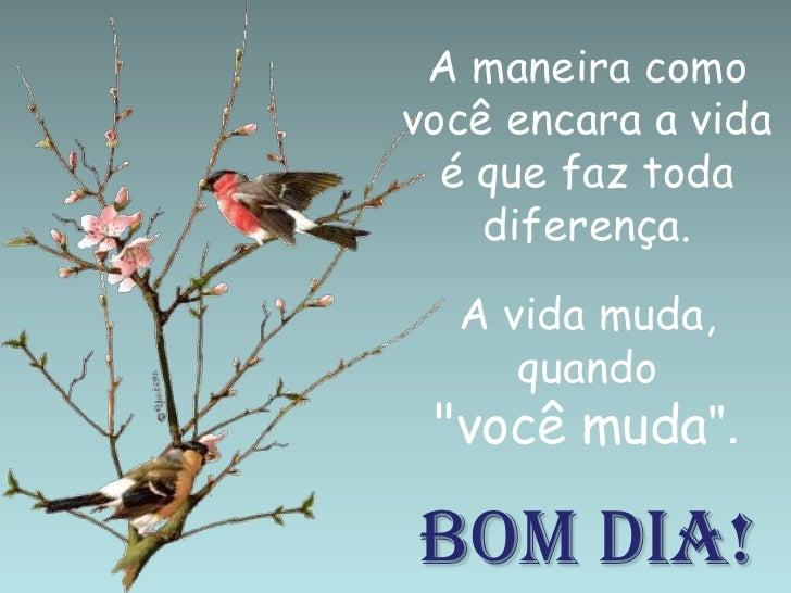 """A maneira como você encara a vida é que faz toda diferença. A vida muda, quando """"você muda"""".BOM DIA!<br />"""