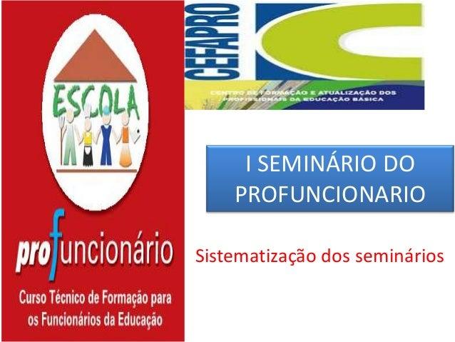 I SEMINÁRIO DO PROFUNCIONARIO Sistematização dos seminários