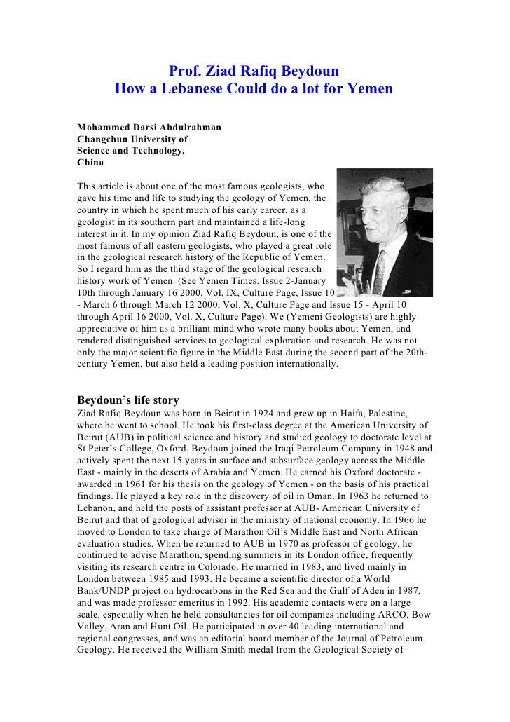 Prof. Ziad Rafiq Beydoun         How a Lebanese Could do a lot for YemenMohammed Darsi AbdulrahmanChangchun University ofS...