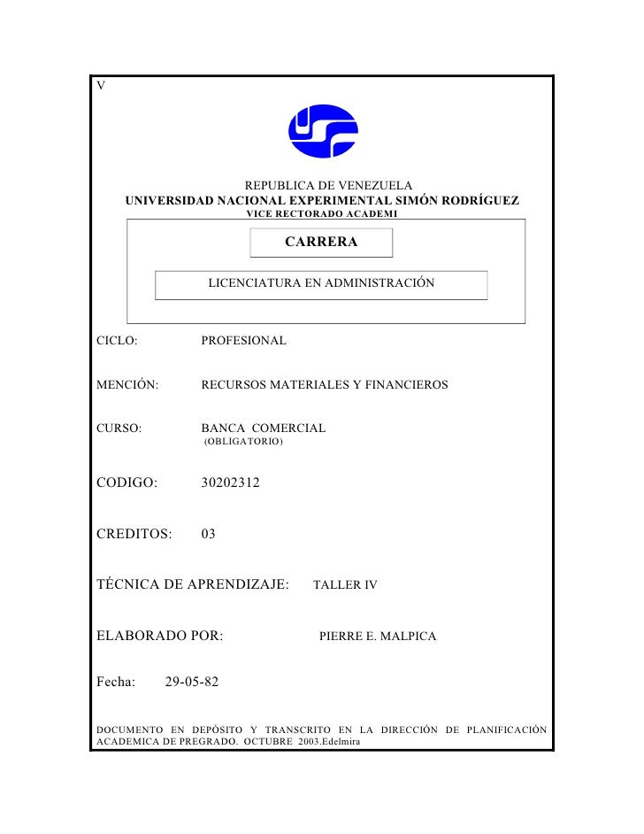 V                        REPUBLICA DE VENEZUELA     UNIVERSIDAD NACIONAL EXPERIMENTAL SIMÓN RODRÍGUEZ                     ...