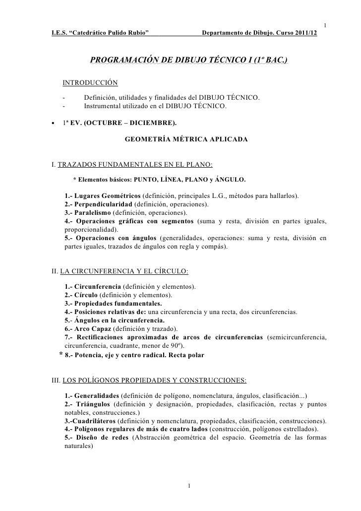 """1I.E.S. """"Catedrático Pulido Rubio""""                  Departamento de Dibujo. Curso 2011/12             PROGRAMACIÓN DE DIBU..."""