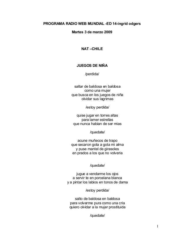 PROGRAMA RADIO WEB MUNDIAL -ED 14-ingrid odgers Martes 3 de marzo 2009 NAT –CHILE JUEGOS DE NIÑA /perdida/ saltar de baldo...