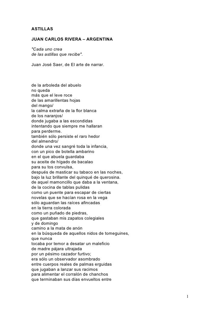 ASTILLAS  JUAN CARLOS RIVERA – ARGENTINA  quot;Cada uno crea de las astillas que recibequot;.  Juan José Saer, de El arte ...