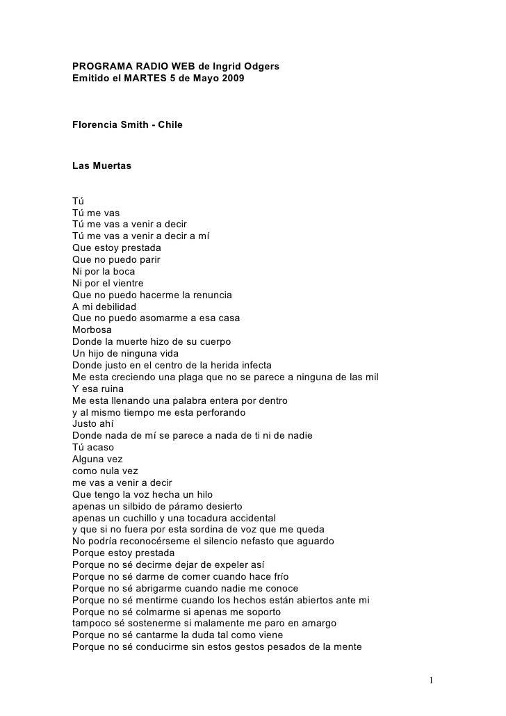 PROGRAMA RADIO WEB de Ingrid Odgers Emitido el MARTES 5 de Mayo 2009    Florencia Smith - Chile   Las Muertas   Tú Tú me v...