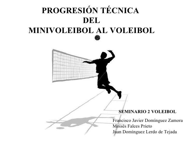 PROGRESIÓN TÉCNICA  DEL MINIVOLEIBOL AL VOLEIBOL SEMINARIO 2 VOLEIBOL Francisco Javier Domínguez Zamora Moisés Falces Prie...