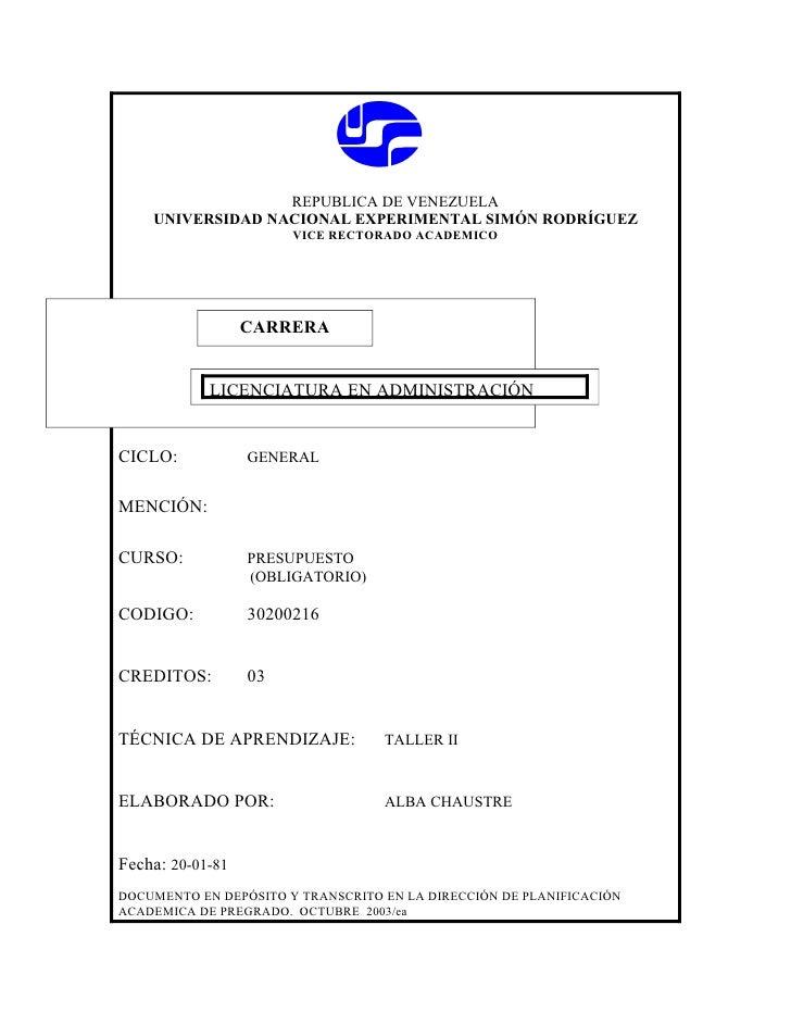 REPUBLICA DE VENEZUELA     UNIVERSIDAD NACIONAL EXPERIMENTAL SIMÓN RODRÍGUEZ                        VICE RECTORADO ACADEMI...