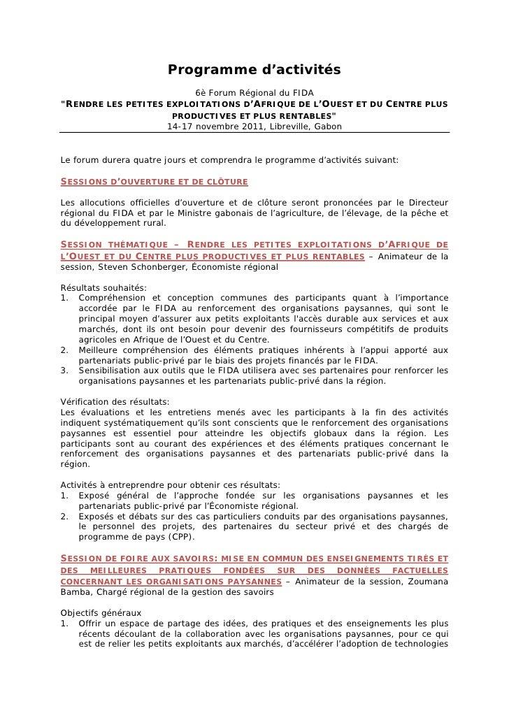 """Programme d'activités                          6è Forum Régional du FIDA""""RENDRE LES PETITES EXPLOITATIONS D'AFRIQUE DE L'O..."""