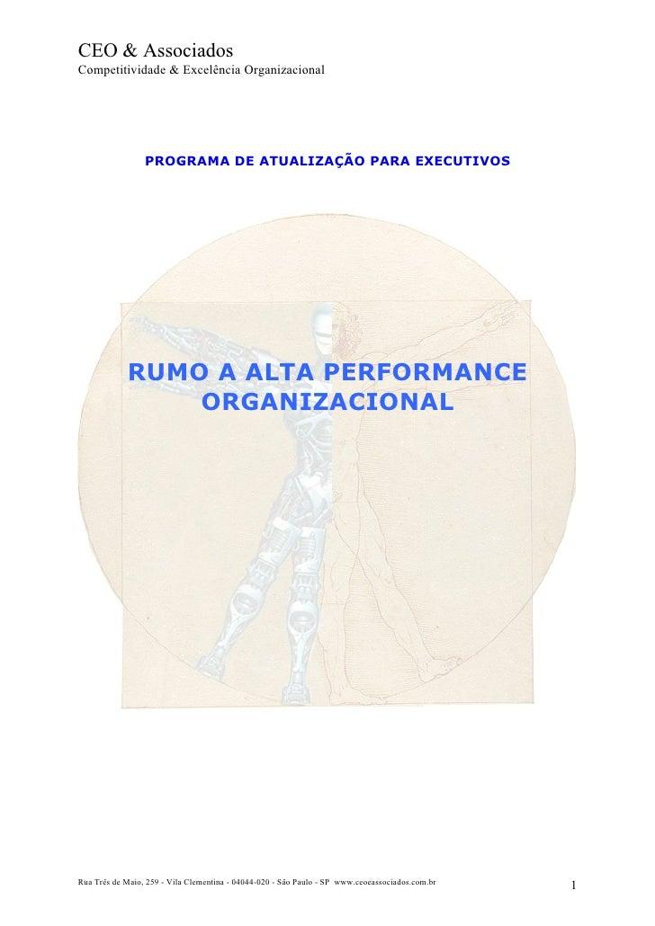 CEO & Associados Competitividade & Excelência Organizacional                      PROGRAMA DE ATUALIZAÇÃO PARA EXECUTIVOS ...