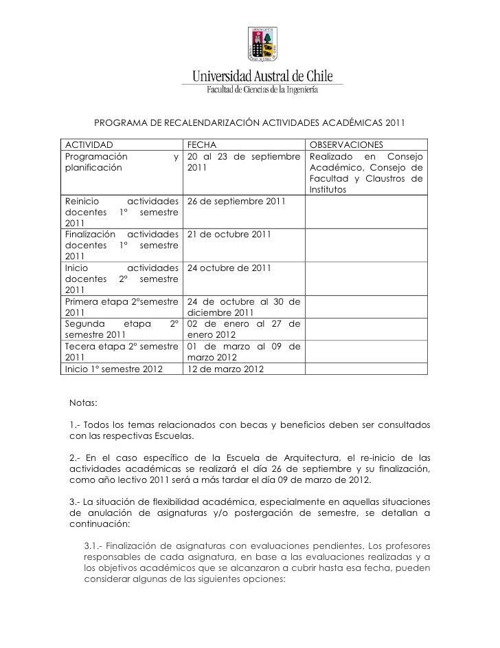 PROGRAMA DE RECALENDARIZACIÓN ACTIVIDADES ACADÉMICAS 2011ACTIVIDAD                 FECHA                  OBSERVACIONESPro...