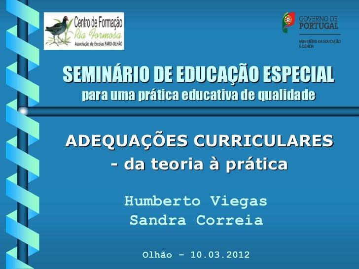 SEMINÁRIO DE EDUCAÇÃO ESPECIAL  para uma prática educativa de qualidadeADEQUAÇÕES CURRICULARES    - da teoria à prática   ...
