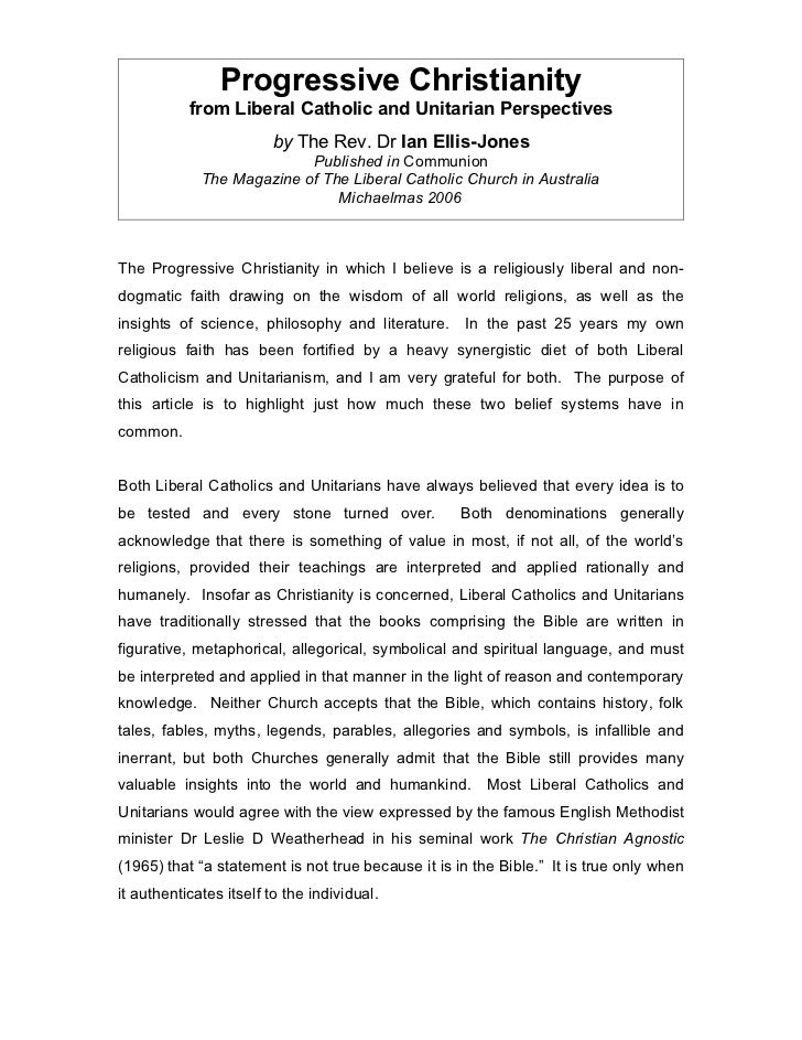 Progressive Christianity           from Liberal Catholic and Unitarian Perspectives                        by The Rev. Dr ...