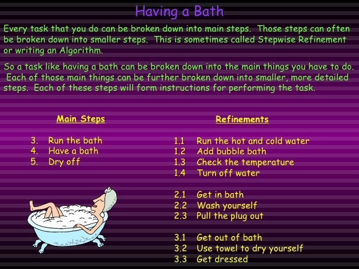 Having a Bath Every task that you do can be broken down into main steps.  Those steps can often be broken down into smalle...
