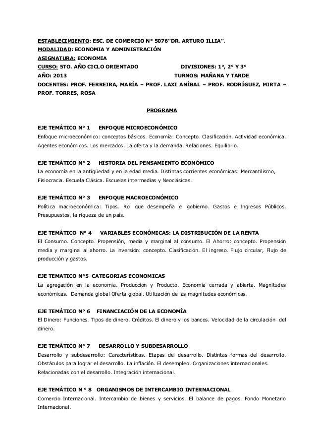 """ESTABLECIMIENTO: ESC. DE COMERCIO N° 5076""""DR. ARTURO ILLIA"""". MODALIDAD: ECONOMIA Y ADMINISTRACIÓN ASIGNATURA: ECONOMIA CUR..."""