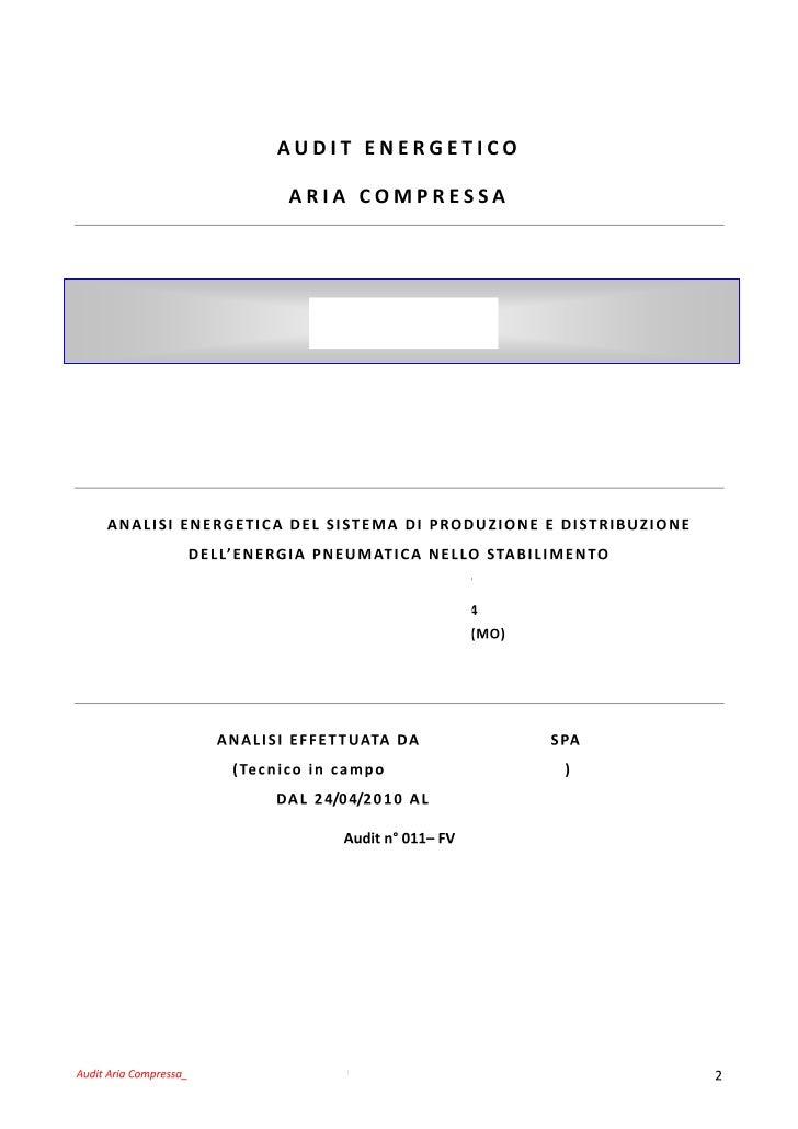 Feasibility Audit Aria Compressa - analisi