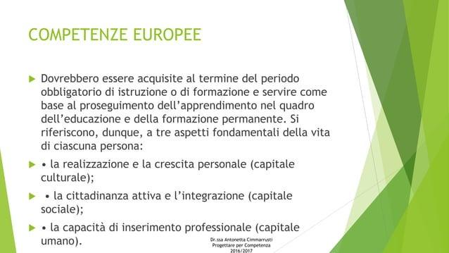 COMPETENZE EUROPEE  Dovrebbero essere acquisite al termine del periodo obbligatorio di istruzione o di formazione e servi...