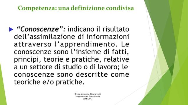 """Competenza: una definizione condivisa  """"Conoscenze"""": indicano il risultato dell'assimilazione di informazioni attraverso ..."""