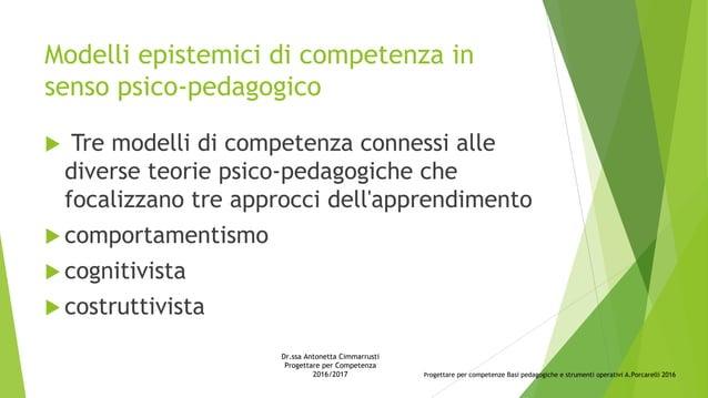 Modelli epistemici di competenza in senso psico-pedagogico  Tre modelli di competenza connessi alle diverse teorie psico-...